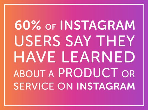 60% of Instagram users say they have learned about a product or service on instagram